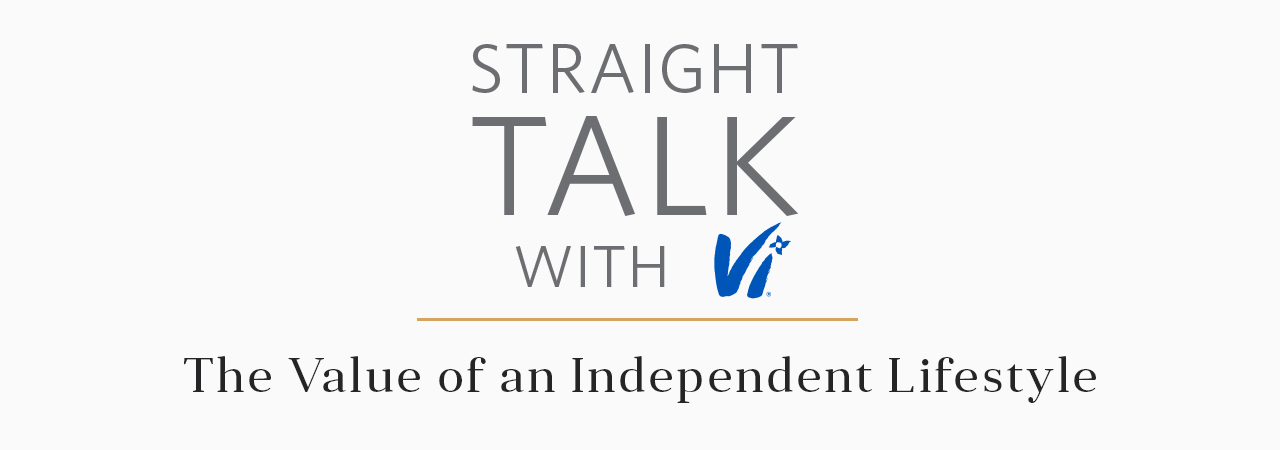 "Straight Talk with Vi logo, that says ""The value of an independent lifestyle"" underneath"