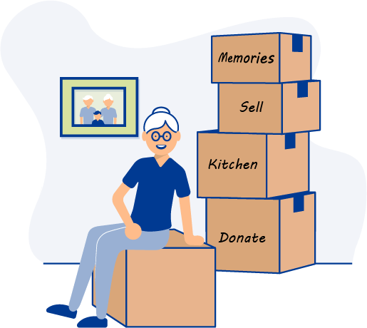 Graphic of a woman sitting with a pile of cardboard boxes and smiling