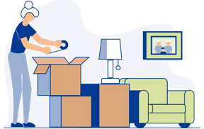 Graphic of a woman packing up belongings into cardboard boxes