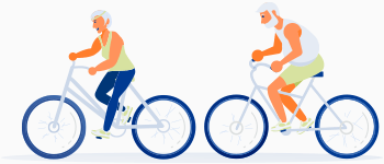 Graphic of an older couple riding bikes