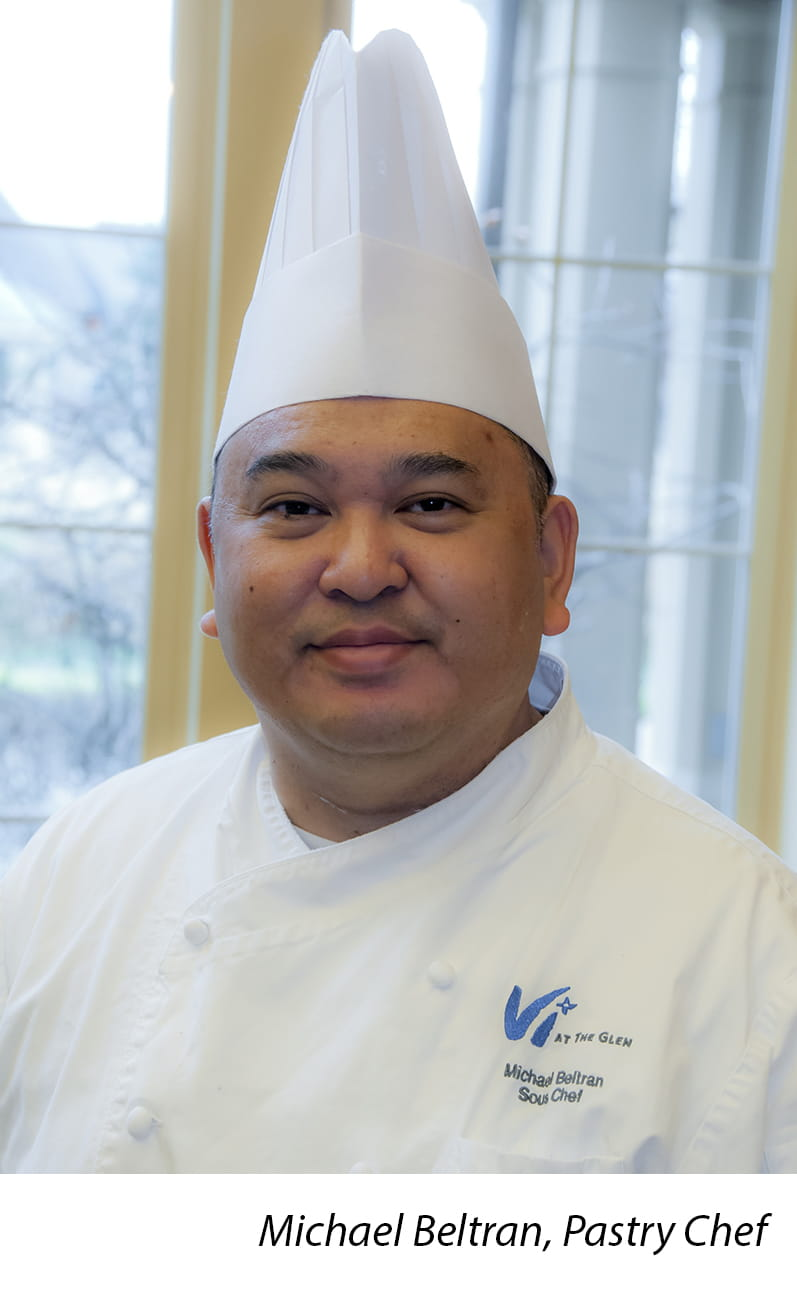 Head shot of Vi at The Glen Pastry Chef Michael Beltran