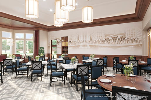 Rendering of the new Bridges restaurant at Vi at The Glen